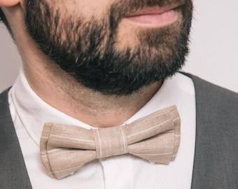 Mens bow tie Beige Stripes Linen bow tie Rustic wedding Boys bow tie Wedding attire Anniversary gift Birthday outfit Ring bearer Necktie