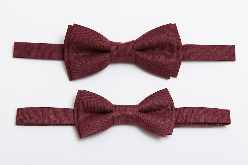 7bc3abbade29 Burgundy Linen bow tie For men For boy Mens bow tie Boys bow | Etsy