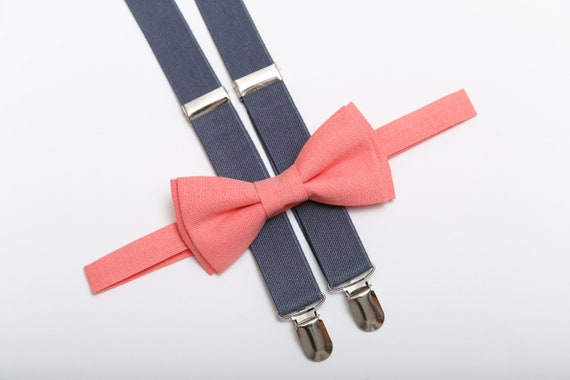 Suspender and Bow Tie Adults Men Light Gray Mix Plaid Wedding Formal Accessories