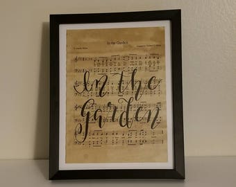 In The Garden - 5x7 Hand Lettered Sheet Music Page - Black Frame