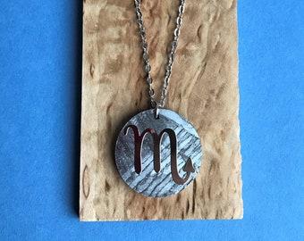 Seymchan Meteorite Zodiac sign Scorpio, Constellation sign rhodium-plated necklace, meteorite pendant