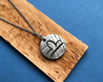 Seymchan Meteorite Zodiac sign Libra, Constellation sign rhodium-plated necklace, meteorite pendant