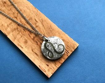 Seymchan Meteorite Zodiac sign Leo, Constellation sign rhodium-plated necklace, meteorite pendant