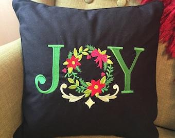 Holiday throw pillow - Christmas JOY embroidered cushion - 13x13 decorative pillow - Keepsake - Personalized gift - Decorative cushion