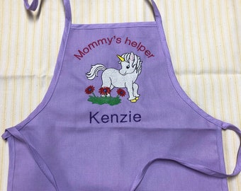 Girls Apron Unicorn - Mommys helper - Personalized apron - Popular gift for girls - Christmas gift