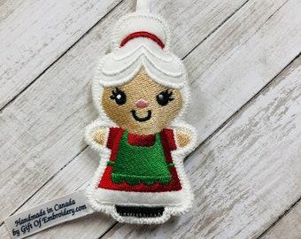 Mrs. Claus Ornament - Christmas Tree Decor - Embroidered Stuffed Felt Decoration - Stocking Stuffers - Personalized Family Xmas decor