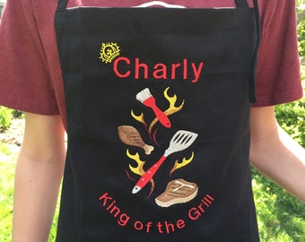Personalized Apron - King of Grill Apron - Embroidered name on apron - Custom gift for him - Kitchen chef apron - Christmas gift