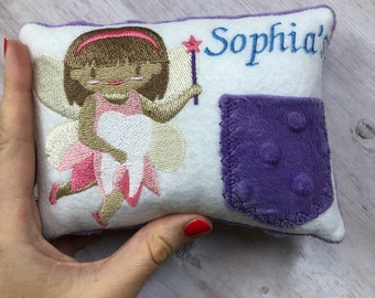 Tooth Fairy Pillow - Loose Tooth Personalized Cushion - Girl Room Decor - Birthday gift for girl - Christmas gift