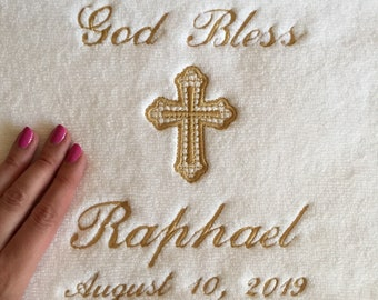 Personalized Baptism Towel - GOLD Embroidery on Christening Towel - Baptism keepsake - Personalized religious gift - Baby receiving towel