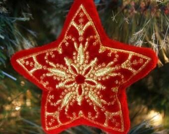 Star Holiday Ornament - Fancy stuffed decoration - Personalized gift - Stocking stuffers - Christmas gift