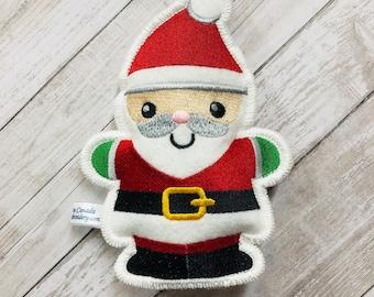 Santa Claus Ornament - Christmas Tree Embroidered Felt Decoration - Stocking Stuffers - Xmas decor - Family holiday ornament -Christmas gift
