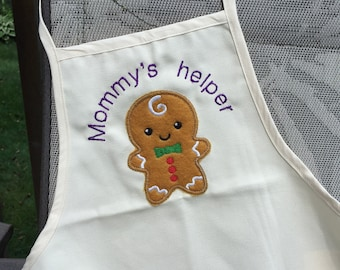Kids Apron - Mommys helper - Gingerbread man - Daddys helper - Personalized gifts for children - Christmas gift