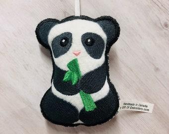 Panda Holiday Ornament - Embroidered stuffed felt decoration - Panda ornament - Personalized gift - Stocking stuffers - Christmas gift