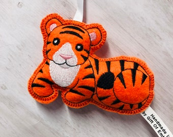 Tiger Holiday Ornament - Personalized gift - Stuffed tree decoration - Christmas gift - Stocking stuffers - Chinese Year of Tiger symbol