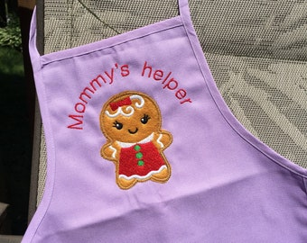 Kids Apron - Mommys helper Gingerbread girl - Personalized apron for toddler - Christmas gift
