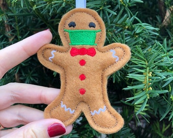 Gingerbread Man Ornament with Face Mask - Funny Keepsake Tree Decoration - Personalized gift - Felt keychain- Christmas gift