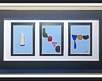 I love you - sea glass art piece