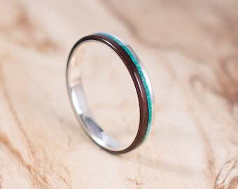 Silver and Rosewood ring with chrysocolla inlay. Engagement ring, wedding ring.