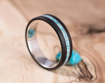 Carbon fiber and silver with turquoise ring. Engagement ring, wedding ring.