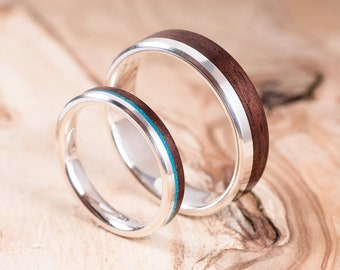 Couple silver and Rosewood rings with Chrisocolla inlay. Engagement ring, wedding ring.