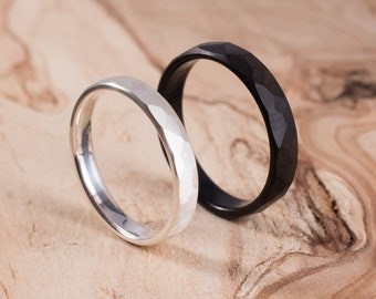 Couple silver and carbon fibre faceted wedding ring. Engagement ring, wedding ring set.