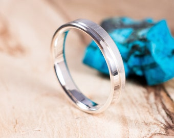 Polished and brushed silver ring. Engagement ring, wedding ring. Boho wedding ring. Ring for men.