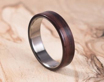 Brushed titanium and Rosewood ring. Engagement ring, wedding ring. Ring for men