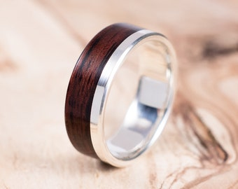 Silver and Rosewood wood ring, engagement ring, wedding ring.