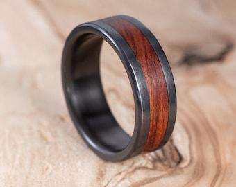 Fire-blackened titanium and Mopane wood ring. Engagement ring, wedding ring.