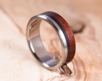 Titanium and carbon fibre Mopane wood ring. Engagement ring, wedding ring. Ring for men.