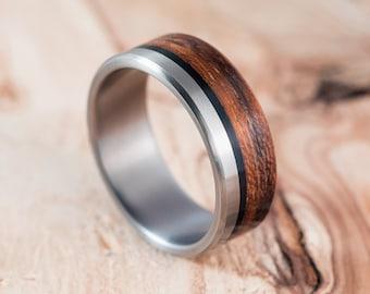 Titanium and Mongoy wood ring. Engagement ring, wedding ring.