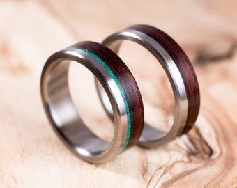 Couple titanium and Rosewood wedding ring. Couple engagement ring. Wedding ring set. Titanium alliances.