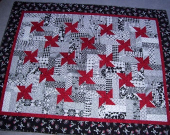 Quilt handmade pinwheels, goth quilt, fathers day gift skulls,crib quilt baby shower quilt, goth baby free shipping