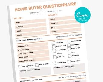 Home Buyer Real Estate Questionnaire - Realtor Form, Real Estate Marketing, Realtor Tool, Seller Intake Form PDF, Printable Real Estate Form