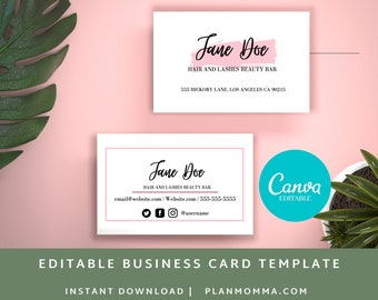 4 Business Card Template Printable Canva Template | Printable Business Card, Custom Business Card, DIY Business Card, Business Card Editable