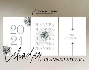 Calendar Planner Kit 2021 - Printable Journal,Digital Journal,Monthly Planner,Annual Planner,Fitness Planner,Habit Tracker,Project Planners