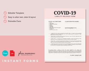 Covid-19 Liability Release Form - Instant Download | Canva Template, Liability Release Form for your Business, Covid-19 Waiver Form