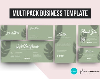 Multipack Business Template Instant Download, Thank You For Your Order Card, Thank You Tag Template, Business Card Template, Mini Square Tag