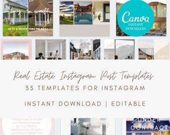 Instagram Real Estate Posts - Real estate marketing, Instagram Posts, Social Media Templates Canva Template Instagram, Realtor Marketing