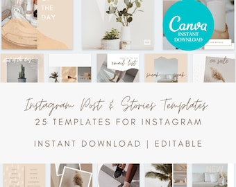 Instagram Templates Canva - Instagram Stories, Instagram Posts, Neutral, Social Media Templates for Canva Template Bundle for Instagram