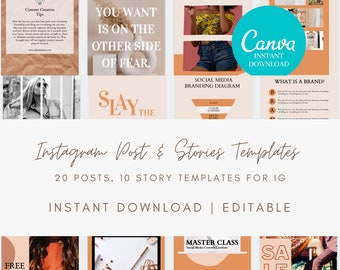 Instagram Posts Story Template Set for Canva - Set of 20 Instagram Posts and 10 Instagram Stories, Instagram Templates, IG, Canva Template