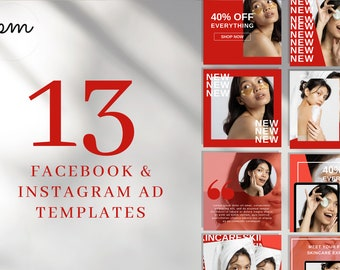 Instagram & Facebook Ad Templates, Marketing Graphic Post for Social Media, Customizable Sales Design Photo for Bloggers