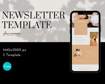 3 Email Newsletter Templates - Email Marketing, Newsletter Templates, Mailchimp Newsletter, Canva Templates, Email Template