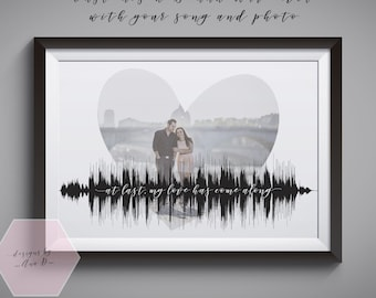 Personalised Sound Wave & Photo - SoundWave Anniversary Present with Wedding Photo and Song