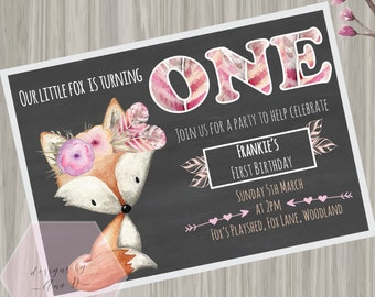 Fox Woodland Birthday Invitation, First Birthday, Fox Tribal Boho Invitation, Girl First Birthday, Chalkboard, Woodland