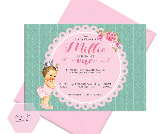 Cute Princess Invitation 1st Birthday Etsy