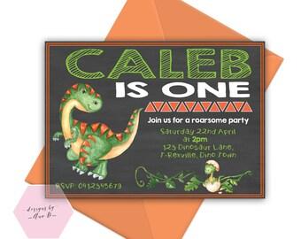 Dinosaur Birthday Invitation, Dinosaur Invitation, T-Rex Dinosaur Birthday Party Invite, Dino Birthday Invitation, 1st First Dino Party