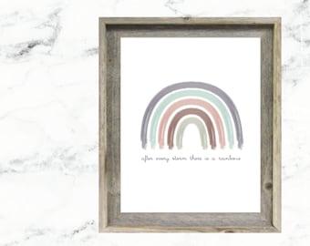 After Every Storm There is a Rainbow Printable Wall Art, Nursery Sign, Rainbow Baby, Nursery Decor, Rainbow Sign, Neutral Rainbow Wall Art