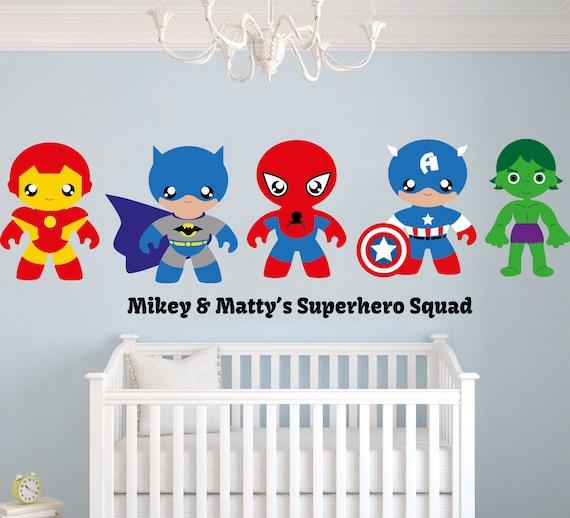 Helden-team benutzerdefinierte Namen Wandtattoo - Baby Boy Zimmer  Kinderzimmer - Wandbild Wand Aufkleber Aufkleber für Haus Schlafzimmer (MM)