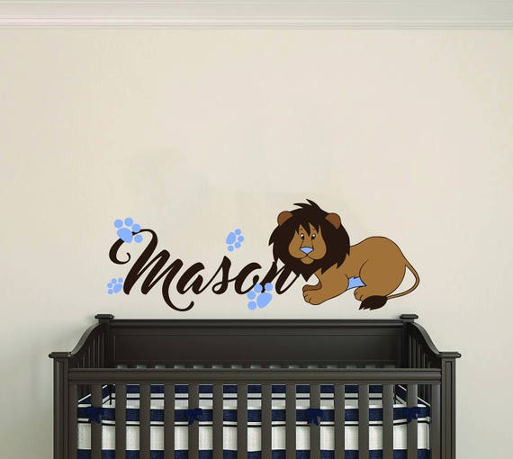 Personalized Name Footprints And Lion Animal Series Baby Boy Nursery Wall Decal For Room Decorations Mural Sticker Home Bedroom Mm